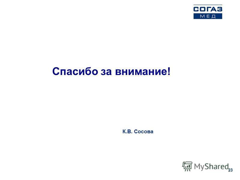 Спасибо за внимание! 23 К.В. Сосова