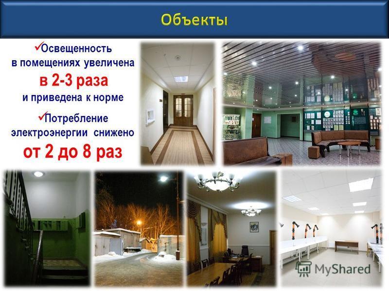 Освещенность в помещениях увеличена в 2-3 раза и приведена к норме Потребление электроэнергии снижено от 2 до 8 раз