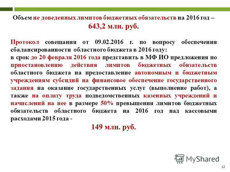 12 Объем не доведенных лимитов бюджетных обязательств на 2016 год – 643,2 млн. руб. Протокол совещания от 09.02.2016 г. по вопросу обеспечения сбалансированности областного бюджета в 2016 году: в срок до 20 февраля 2016 года представить в МФ ИО предл