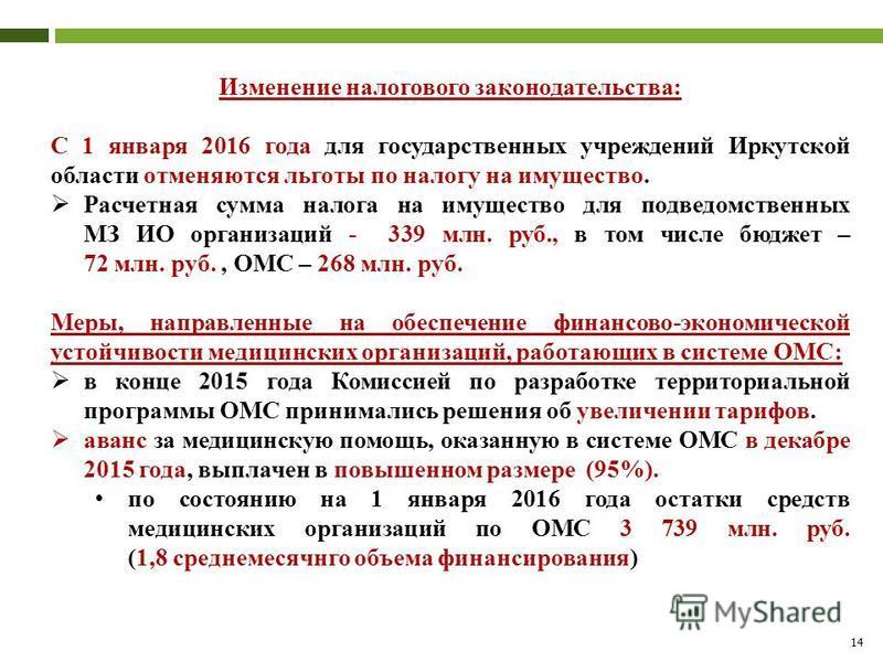 14 Изменение налогового законодательства: С 1 января 2016 года для государственных учреждений Иркутской области отменяются льготы по налогу на имущество. Расчетная сумма налога на имущество для подведомственных МЗ ИО организаций - 339 млн. руб., в то