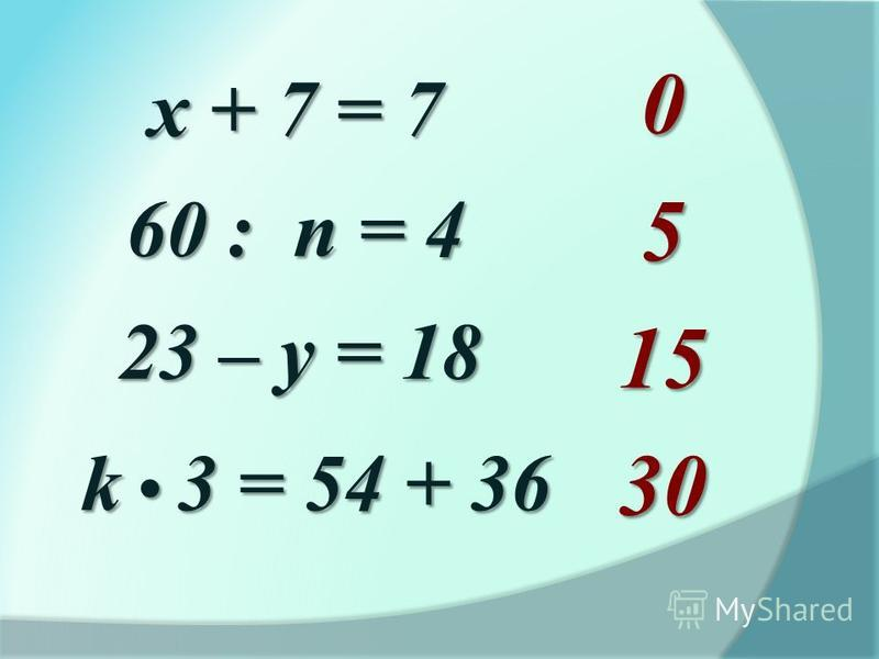 х + 7 = 7 60 : n = 4 23 – у = 18 k 3 = 54 + 36 051530