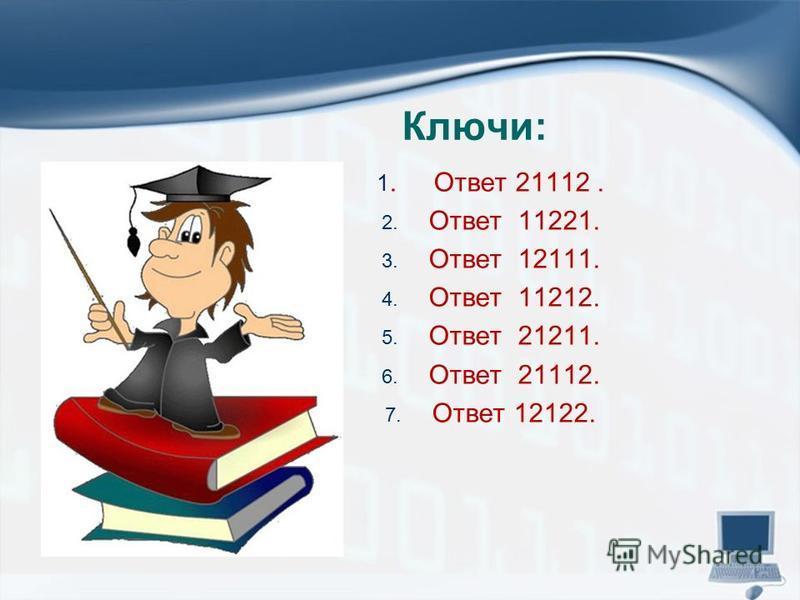 Ключи: 1. Ответ 21112. 2. Ответ 11221. 3. Ответ 12111. 4. Ответ 11212. 5. Ответ 21211. 6. Ответ 21112. 7. Ответ 12122.