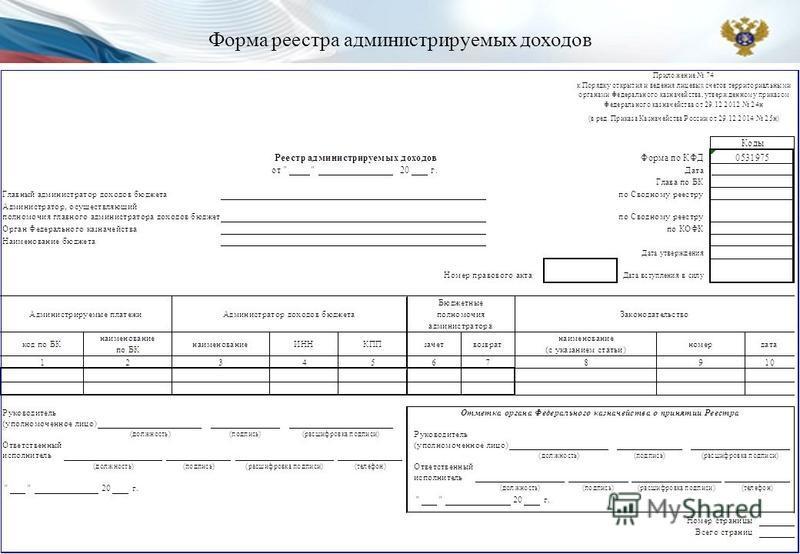 Форма реестра администрируемых доходов