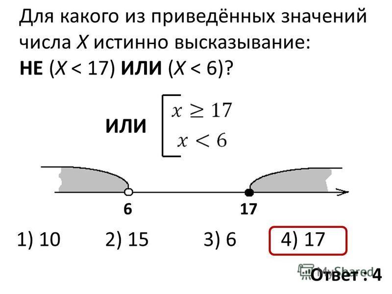 Для какого из приведённых значений числа X истинно высказывание: НЕ (X < 17) ИЛИ (X < 6)? ИЛИ 617 1) 10 2) 15 3) 6 4) 17 Ответ : 4