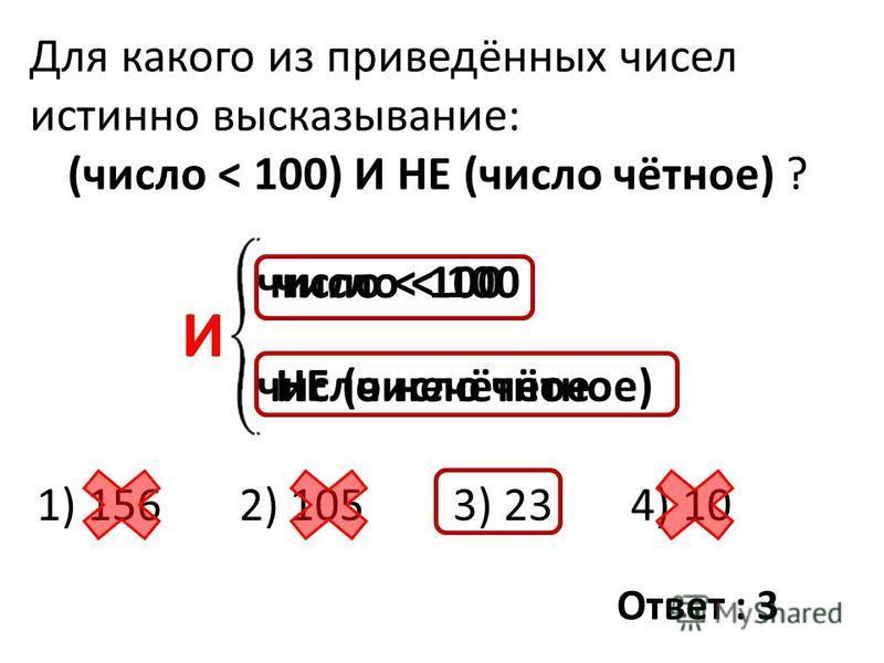 Для какого из приведённых чисел истинно высказывание: (число < 100) И НЕ (число чётное) ? 1) 156 2) 105 3) 23 4) 10 число < 100 НЕ (число чётное) число < 100 число нечётное И Ответ : 3