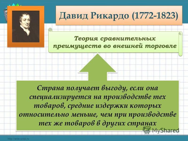 Давид Рикардо (1772-1823) Теория сравнительных преимуществ во внешней торговле Страна получает выгоду, если она специализируется на производстве тех товаров, средние издержки которых относительно меньше, чем при производстве тех же товаров в других с