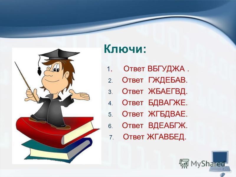 Ключи: 1. Ответ ВБГУДЖА. 2. Ответ ГЖДЕБАВ. 3. Ответ ЖБАЕГВД. 4. Ответ БДВАГЖЕ. 5. Ответ ЖГБДВАЕ. 6. Ответ ВДЕАБГЖ. 7. Ответ ЖГАВБЕД.