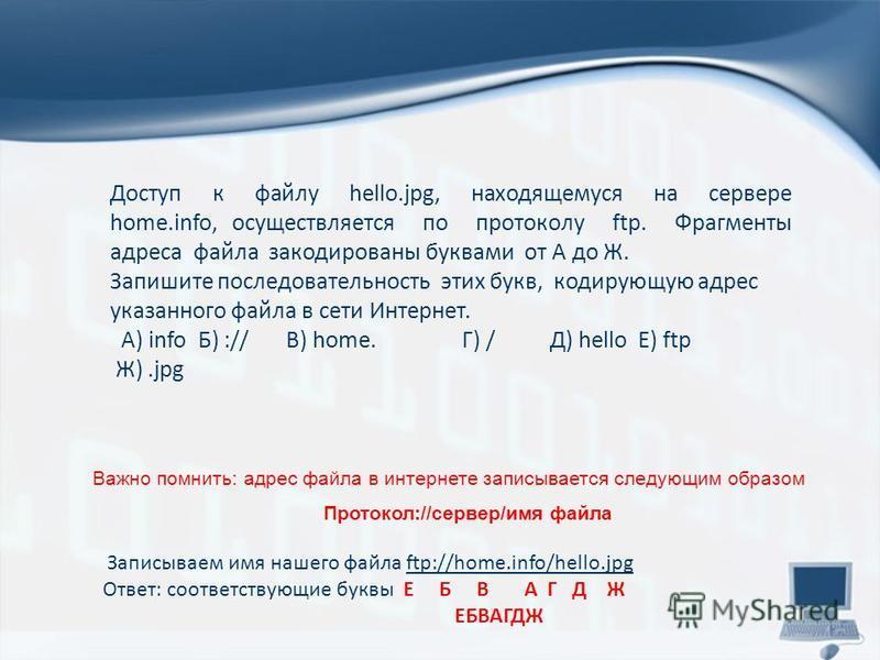 Важно помнить: адрес файла в интернете записывается следующим образом Протокол://сервер/имя файла Доступ к файлу hello.jpg, находящемуся на сервере home.info, осуществляется по протоколу ftp. Фрагменты адреса файла закодированы буквами от А до Ж. Зап