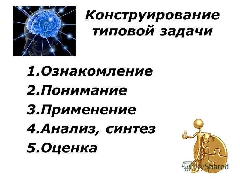 Конструирование типовой задачи 1. Ознакомление 2. Понимание 3. Применение 4.Анализ, синтез 5.Оценка