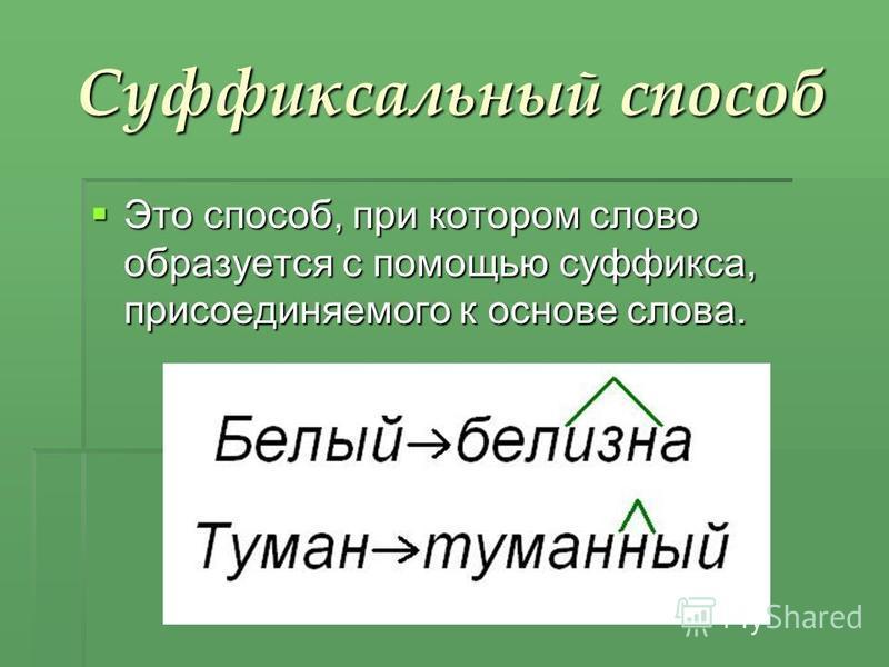 Суффиксальный способ Это способ, при котором слово образуется с помощью суффикса, присоединяемого к основе слова. Это способ, при котором слово образуется с помощью суффикса, присоединяемого к основе слова.