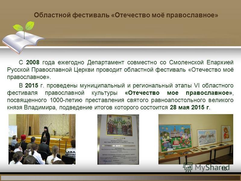 Областной фестиваль «Отечество моё православное» С 2008 года ежегодно Департамент совместно со Смоленской Епархией Русской Православной Церкви проводит областной фестиваль «Отечество моё православное». В 2015 г. проведены муниципальный и региональный
