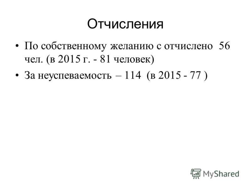 Отчисления По собственному желанию с отчислено 56 чел. (в 2015 г. - 81 человек) За неуспеваемость – 114 (в 2015 - 77 )
