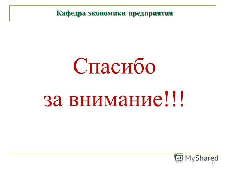 30 Кафедра экономики предприятия Спасибо за внимание!!!