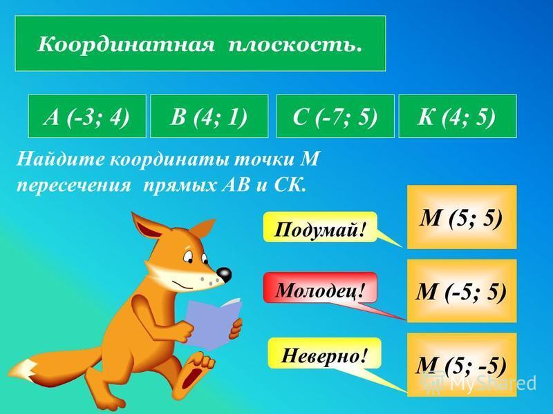 Координатная плоскость. А (-3; 4)В (4; 1)С (-7; 5)К (4; 5) Найдите координаты точки М пересечения прямых АВ и СК. М (5; 5) М (-5; 5) М (5; -5) Молодец! Подумай! Неверно!