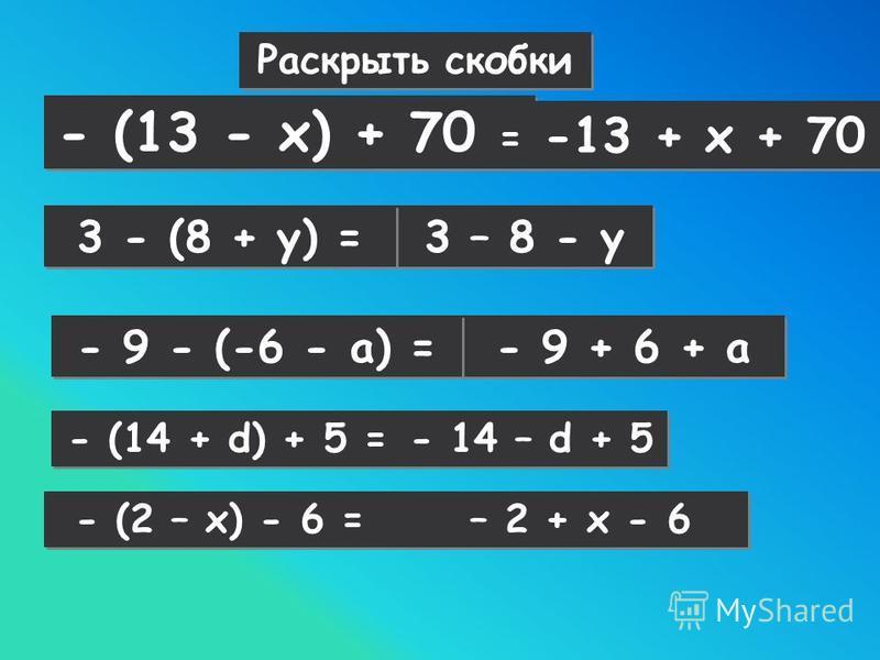 Раскрыть скобки - (13 - х) + 70 = -13 + х + 70 3 – 8 - у - (14 + d) + 5 = 3 - (8 + у) = - 14 – d + 5 - (2 – x) - 6 = – 2 + x - 6 - 9 + 6 + а - 9 - (-6 - а) =