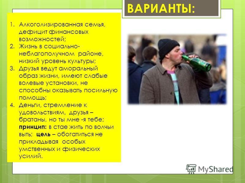 1. Алкоголизированная семья, дефицит финансовых возможностей; 2. Жизнь в социально- неблагополучном районе, низкий уровень культуры; 3. Друзья ведут аморальный образ жизни, имеют слабые волевые установки, не способны оказывать посильную помощь; 4.Ден