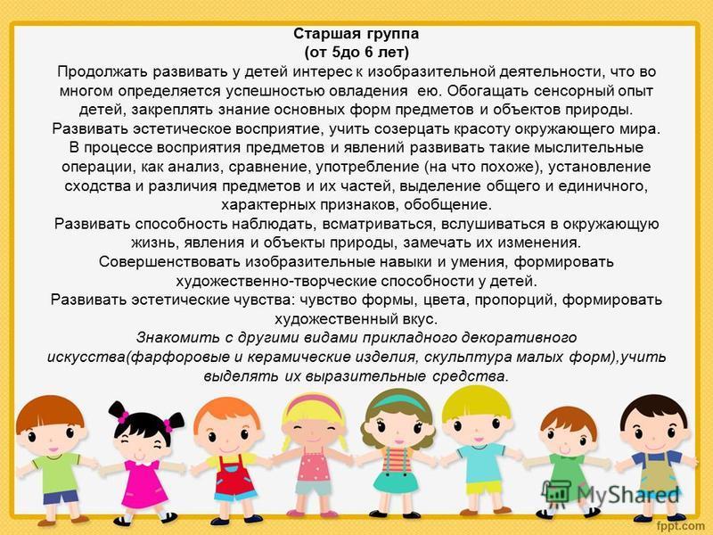 Старшая группа (от 5 до 6 лет) Продолжать развивать у детей интерес к изобразительной деятельности, что во многом определяется успешностью овладения ею. Обогащать сенсорный опыт детей, закреплять знание основных форм предметов и объектов природы. Раз