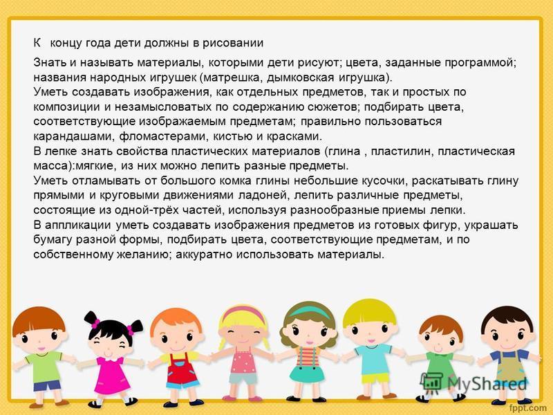 К концу года дети должны в рисовании Знать и называть материалы, которыми дети рисуют; цвета, заданные программой; названия народных игрушек (матрешка, дымковская игрушка). Уметь создавать изображения, как отдельных предметов, так и простых по композ