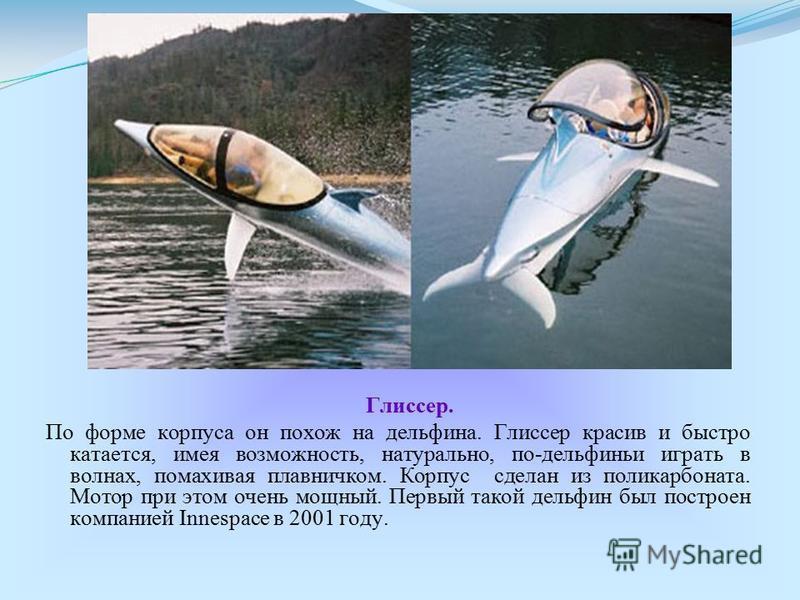 Глиссер. По форме корпуса он похож на дельфина. Глиссер красив и быстро катается, имея возможность, натурально, по-дельфиньи играть в волнах, помахивая плавничком. Корпус сделан из поликарбоната. Мотор при этом очень мощный. Первый такой дельфин был