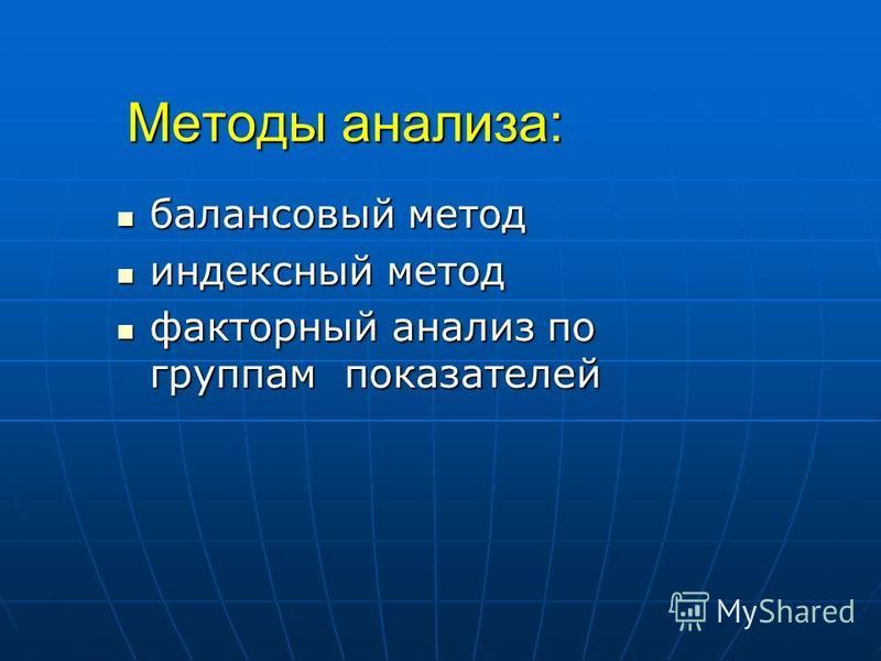 Методы анализа: балансовый метод балансовый метод индексный метод индексный метод факторный анализ по группам показателей факторный анализ по группам показателей