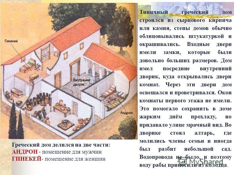 Типичный греческий дом строился из сырцового кирпича или камня, стены домов обычно облицовывались штукатуркой и окрашивались. Входные двери имели замки, которые были довольно больших размеров. Дом имел посредине внутренний дворик, куда открывались дв