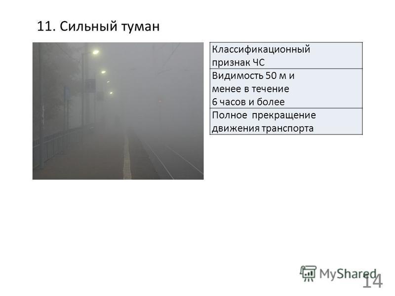 11. Сильный туман Классификационный признак ЧС Видимость 50 м и менее в течение 6 часов и более Полное прекращение движения транспорта 14