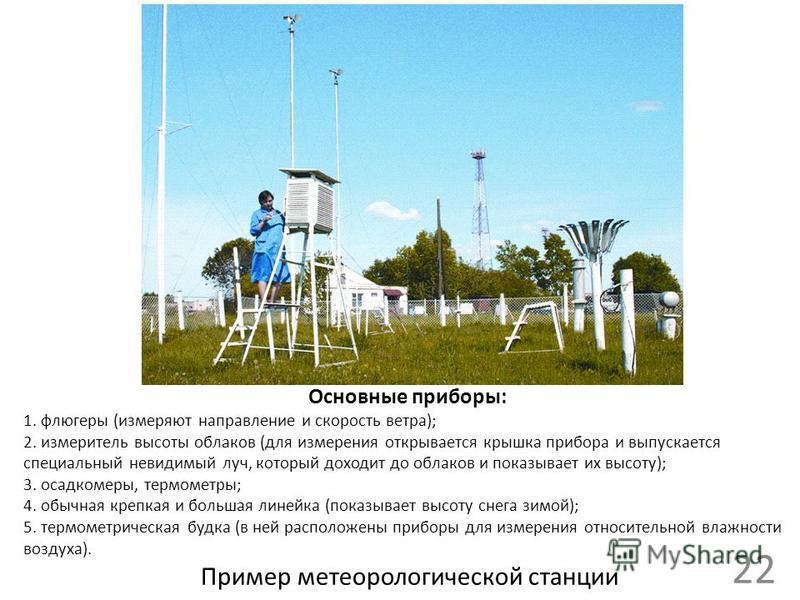 22 Пример метеорологической станции Основные приборы: 1. флюгеры (измеряют направление и скорость ветра); 2. измеритель высоты облаков (для измерения открывается крышка прибора и выпускается специальный невидимый луч, который доходит до облаков и пок