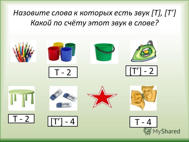 Назовите слова к которых есть звук [Т], [Т] Какой по счёту этот звук в слове? Т - 4 Т - 2 [Т] - 4 [Т] - 2