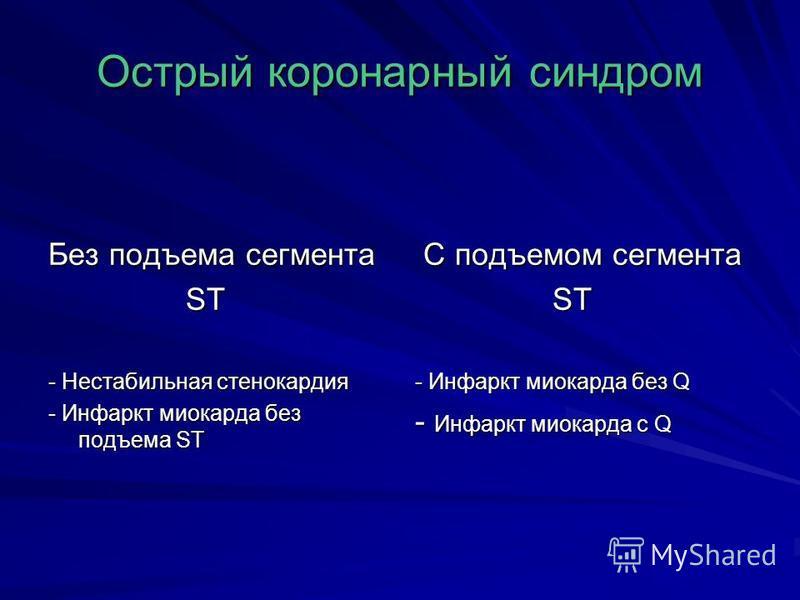 Острый коронарный синдром Без подъема сегмента ST ST - Нестабильная стенокардия - Инфаркт миокарда без подъема ST С подъемом сегмента С подъемом сегмента ST ST - Инфаркт миокарда без Q - Инфаркт миокарда с Q