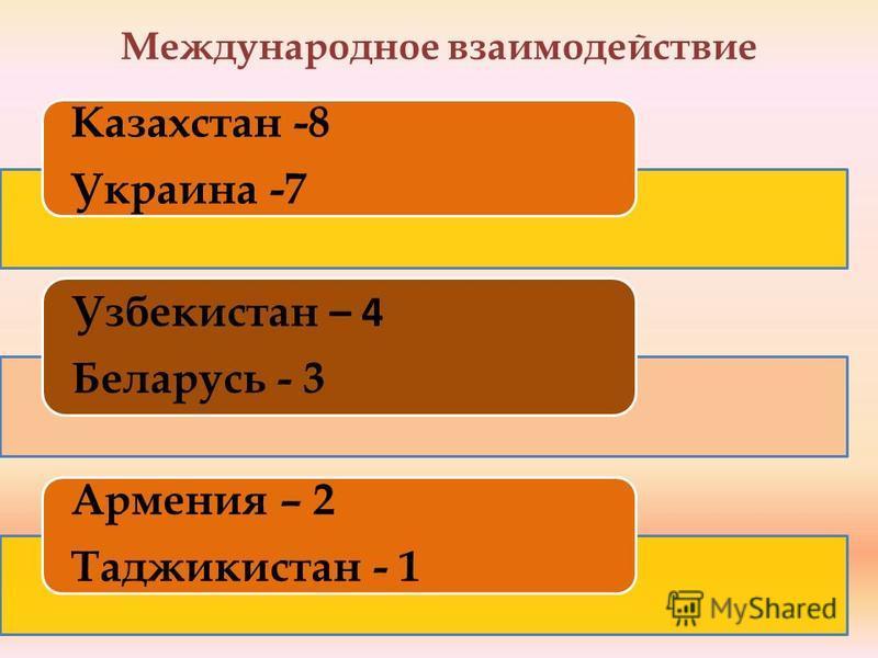 Международное взаимодействие Казахстан -8 Украина -7 Узбекистан – 4 Беларусь - 3 Армения – 2 Таджикистан - 1