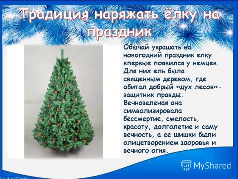 Обычай украшать на новогодний праздник елку впервые появился у немцев. Для них ель была священным деревом, где обитал добрый «дух лесов»- защитник правды. Вечнозеленая она символизировала бессмертие, смелость, красоту, долголетие и саму вечность, а е