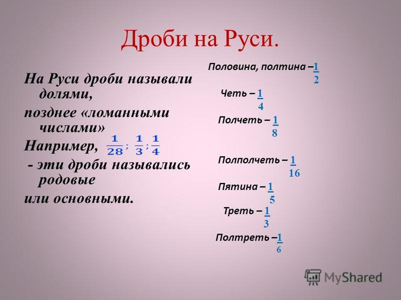 Дроби на Руси. На Руси дроби называли долями, позднее «ломанными числами» Например, - эти дроби назывались родовые или основными. Половина, полтина – 1 2 Четь – 1 4 Полчеть – 1 8 Полполчеть – 1 16 Пятина – 1 5 Треть – 1 3 Полтреть – 1 6
