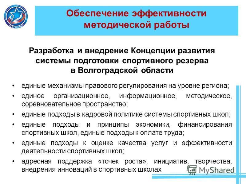 Обеспечение эффективности методической работы Разработка и внедрение Концепции развития системы подготовки спортивного резерва в Волгоградской области единые механизмы правового регулирования на уровне региона; единое организационное, информационное,