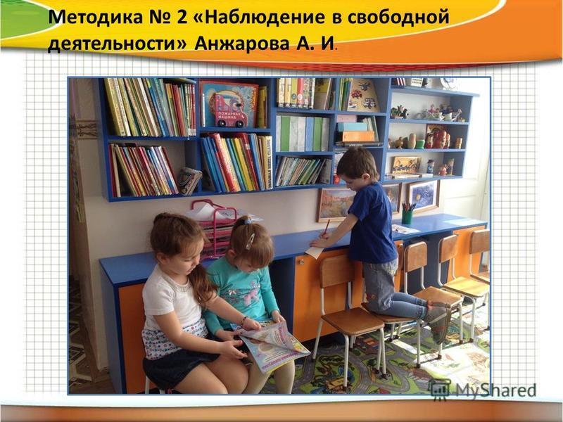 Методика 2 «Наблюдение в свободной деятельности» Анжарова А. И.