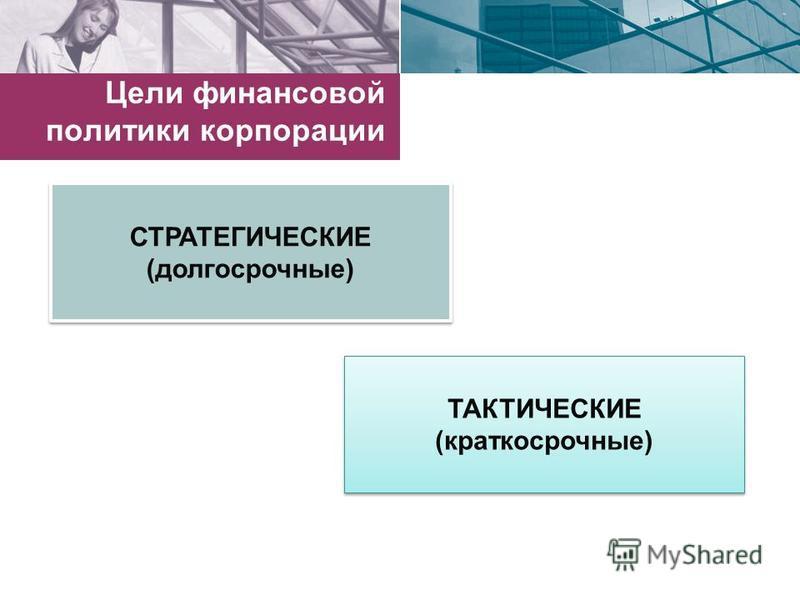 Цели финансовой политики корпорации СТРАТЕГИЧЕСКИЕ (долгосрочные) СТРАТЕГИЧЕСКИЕ (долгосрочные) ТАКТИЧЕСКИЕ (краткосрочные) ТАКТИЧЕСКИЕ (краткосрочные)