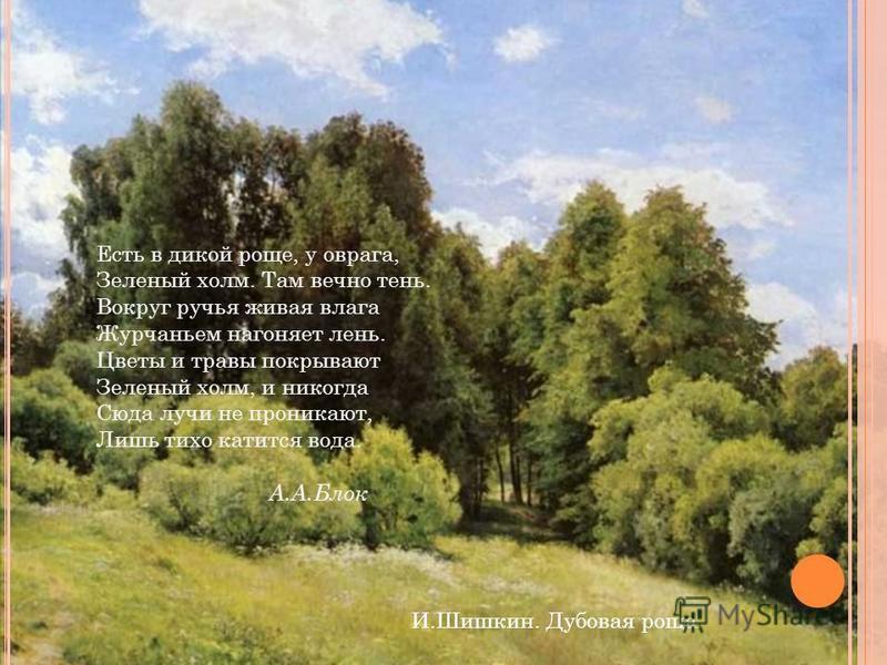 И.Шишкин. Дубовая роща. Есть в дикой роще, у оврага, Зеленый холм. Там вечно тень. Вокруг ручья живая влага Журчаньем нагоняет лень. Цветы и травы покрывают Зеленый холм, и никогда Сюда лучи не проникают, Лишь тихо катится вода. А.А.Блок