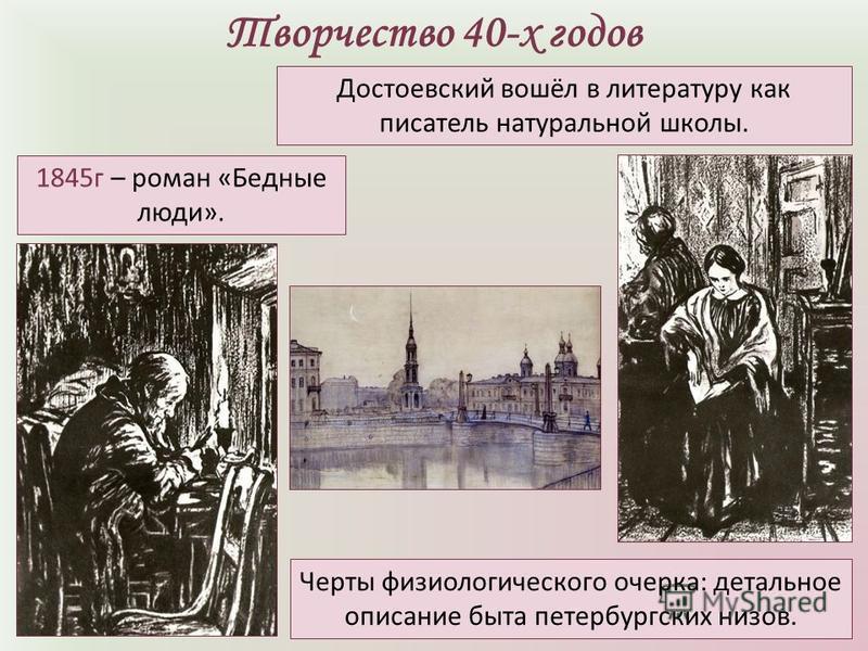 Творчество 40-х годов 1845 г – роман «Бедные люди». Достоевский вошёл в литературу как писатель натуральной школы. Черты физиологического очерка: детальное описание быта петербургских низов.