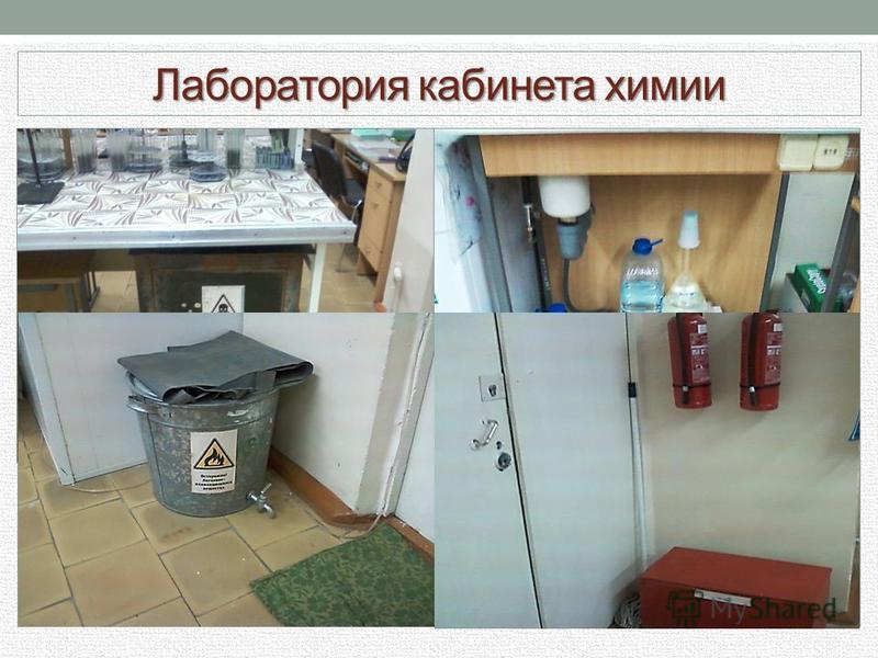 Лаборатория кабинета химии Рядом с дверью в кабинет установлены самодельная мойка, вытяжной шкаф и посудомоечная машина. Рядом с мойкой стоят сосуды для слива отработанных реактивов – неорганических и органических, а также отходов, содержащих серебро