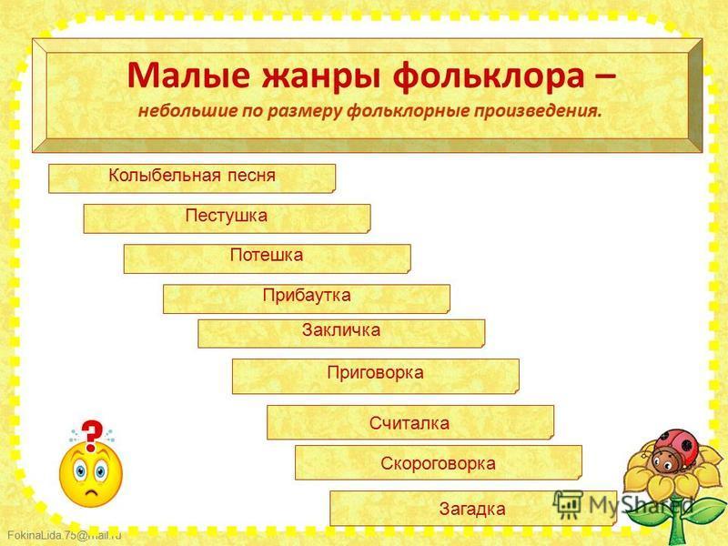 FokinaLida.75@mail.ru Малые жанры фольклора – небольшие по размеру фольклорные произведения. Колыбельная песня Пестушка Потешка Прибаутка Закличка Приговорка Считалка Скороговорка Загадка