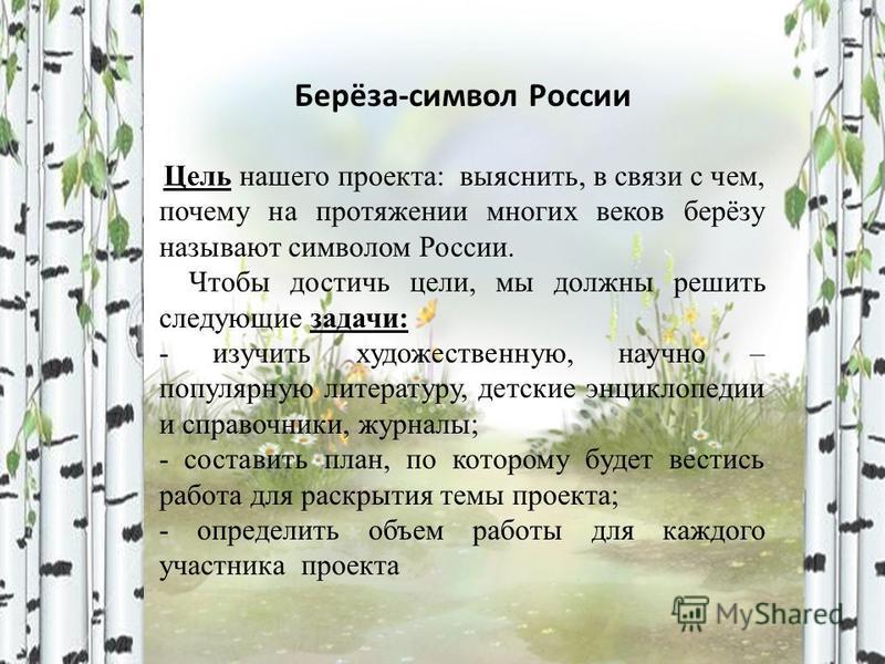 Берёза-символ России Цель нашего проекта: выяснить, в связи с чем, почему на протяжении многих веков берёзу называют символом России. Чтобы достичь цели, мы должны решить следующие задачи: - изучить художественную, научно – популярную литературу, дет