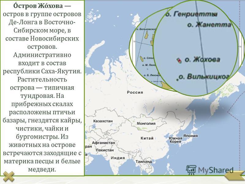 О́стров Жо́хова остров в группе островов Де-Лонга в Восточно- Сибирском море, в составе Новосибирских островов. Административно входит в состав республики Саха-Якутия. Растительность острова типичная тундровая. На прибрежных скалах расположены птичьи