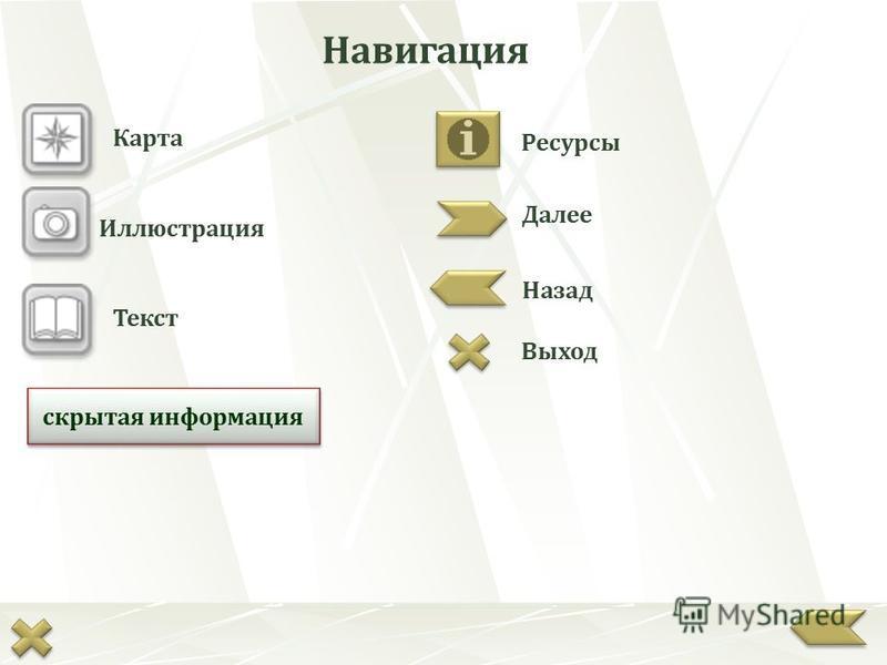 Карта Иллюстрация Текст Далее Назад Выход Ресурсы скрытая информация Навигация