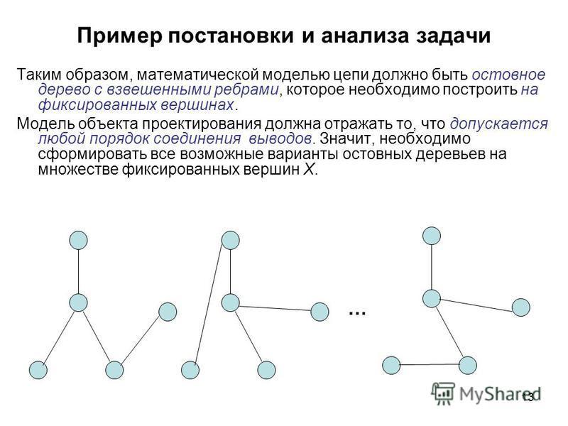 13 Пример постановки и анализа задачи Таким образом, математической моделью цепи должно быть остовное дерево с взвешенными ребрами, которое необходимо построить на фиксированных вершинах. Модель объекта проектирования должна отражать то, что допускае
