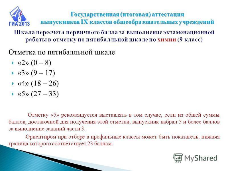 Отметка по пятибалльной шкале «2» (0 – 8) «3» (9 – 17) «4» (18 – 26) «5» (27 – 33) Отметку «5» рекомендуется выставлять в том случае, если из общей суммы баллов, достаточной для получения этой отметки, выпускник набрал 5 и более баллов за выполнение