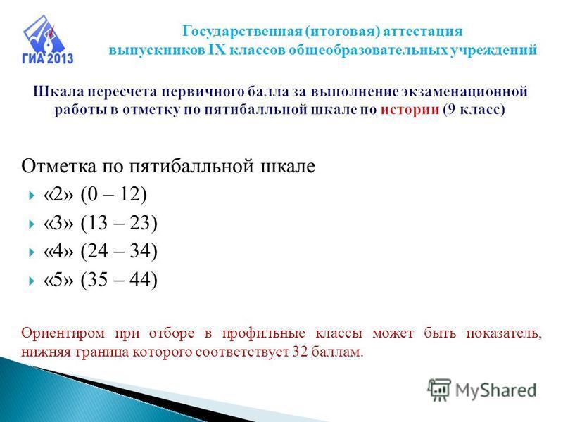 Отметка по пятибалльной шкале «2» (0 – 12) «3» (13 – 23) «4» (24 – 34) «5» (35 – 44) Ориентиром при отборе в профильные классы может быть показатель, нижняя граница которого соответствует 32 баллам. Государственная (итоговая) аттестация выпускников I