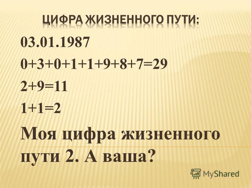 03.01.1987 0+3+0+1+1+9+8+7=29 2+9=11 1+1=2 Моя цифра жизненного пути 2. А ваша?