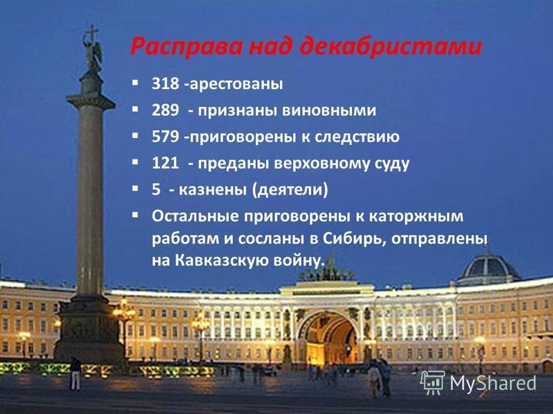 Расправа над декабристами 318 -арестованы 289 - признаны виновными 579 -приговорены к следствию 121 - преданы верховному суду 5 - казнены (деятели) Остальные приговорены к каторжным работам и сосланы в Сибирь, отправлены на Кавказскую войну.