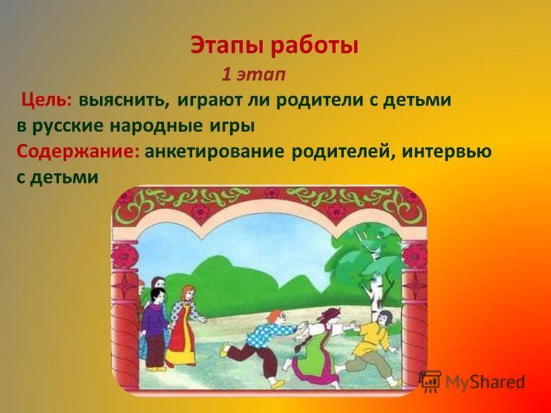 Этапы работы 1 этап Цель: выяснить, играют ли родители с детьми в русские народные игры Содержание: анкетирование родителей, интервью с детьми