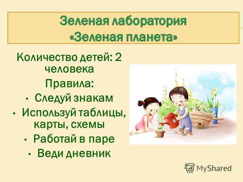 Количество детей: 2 человека Правила: Следуй знакам Используй таблицы, карты, схемы Работай в паре Веди дневник