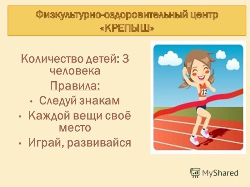 Количество детей: 3 человека Правила: Следуй знакам Каждой вещи своё место Играй, развивайся